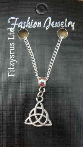 "18"" 24"" Inch Chain Necklace & Celtic Knot Trinity Charm Pendant Gaelic Celt Gift"